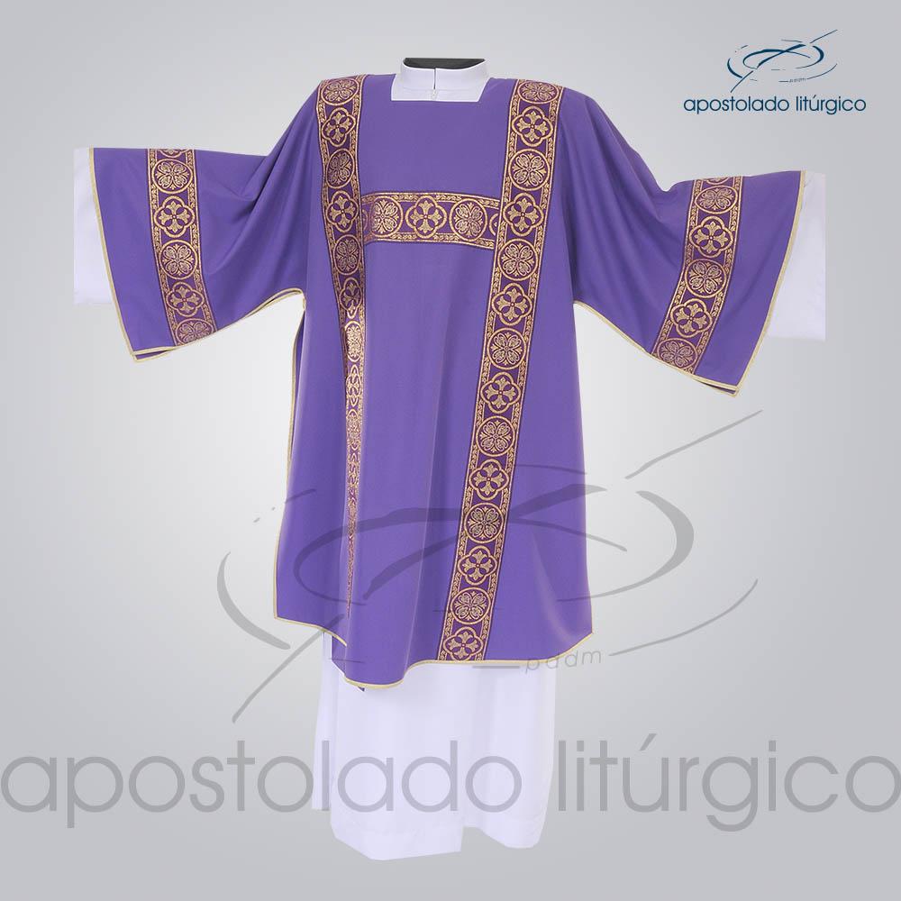 Dalmatica Crepe Seda Galao Largo N 10 Roxa Frente | Apostolado Litúrgico Brasil