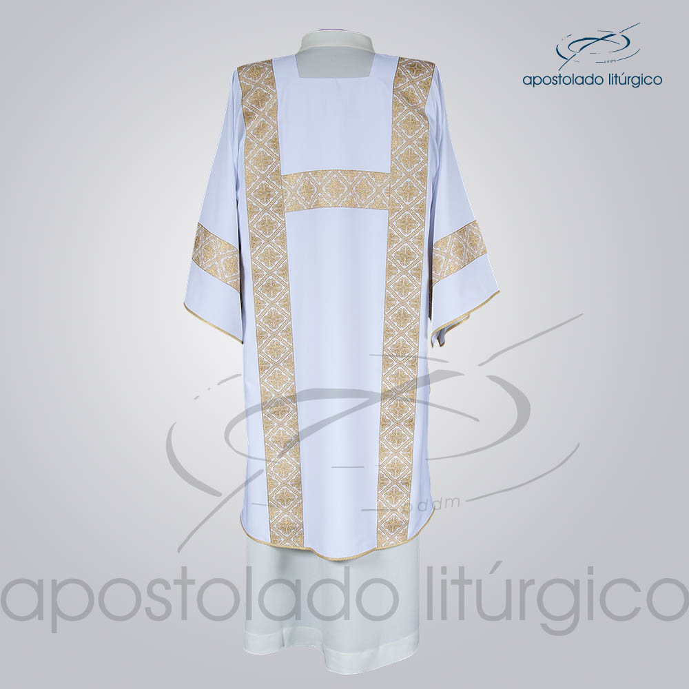 Dalmatica Crepe Seda Galao Largo N 13 Branca Costas | Apostolado Litúrgico Brasil