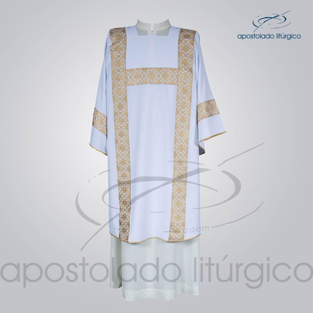 Dalmatica Crepe Seda Galao Largo N 13 Branca Frente | Apostolado Litúrgico Brasil