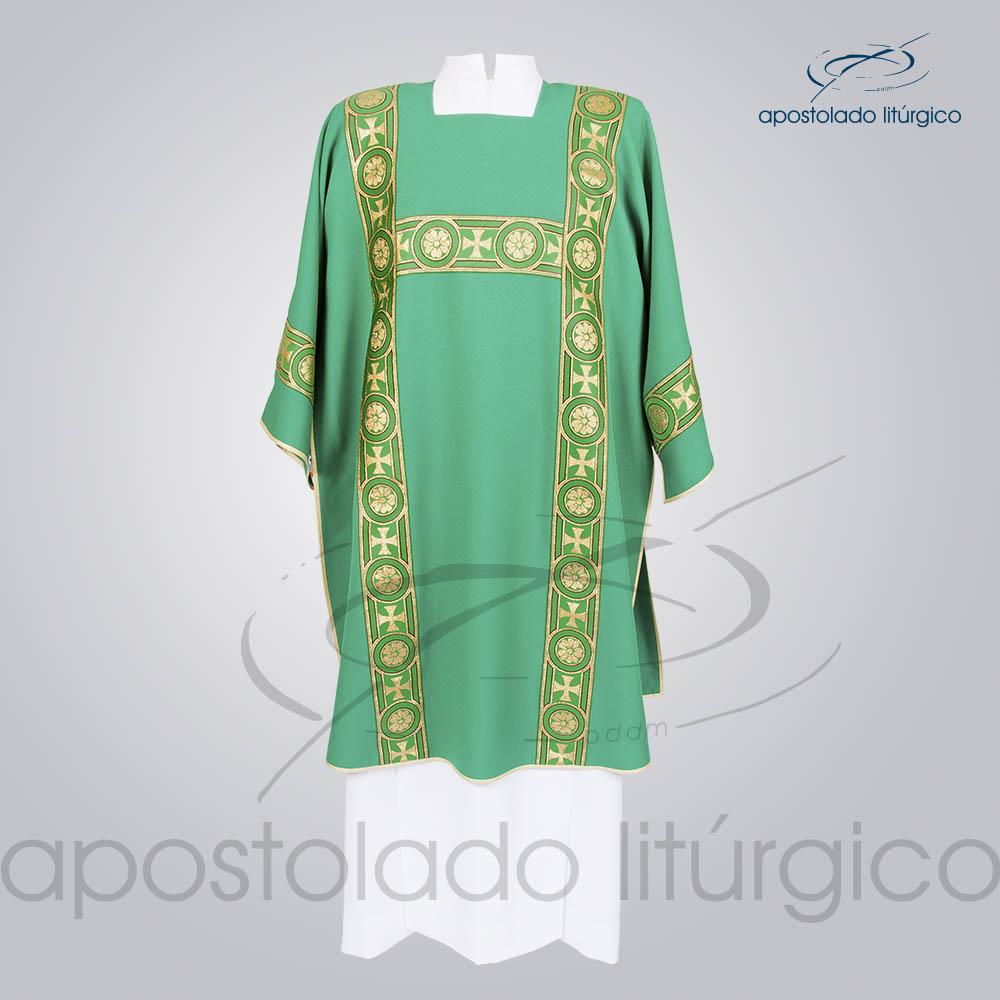 Dalmatica Crepe Seda Galao Largo N 14 Verde Frente | Apostolado Litúrgico Brasil