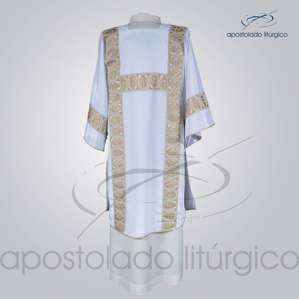 Dalmatica Crepe Seda Galao Largo N 15 Branca Costas | Apostolado Litúrgico Brasil