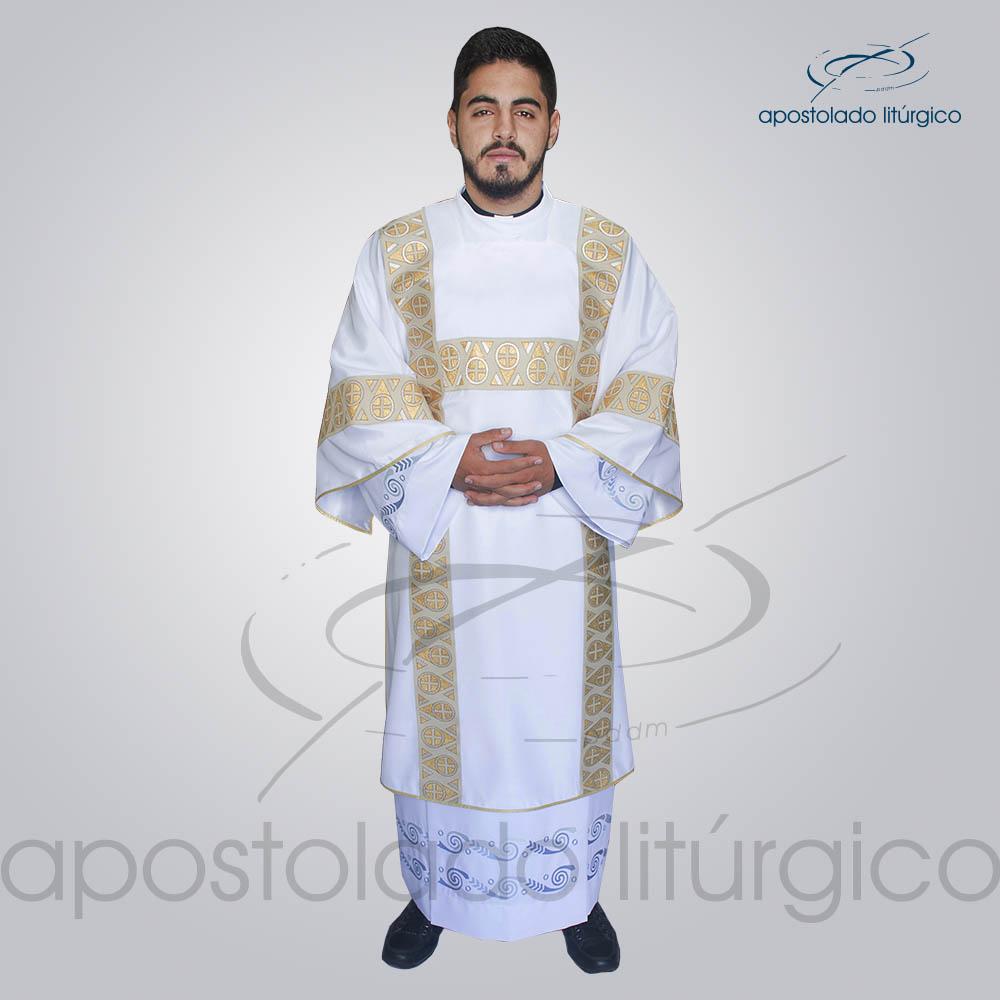 Dalmatica Crepe Seda Galao Largo N 15 Branca Frente Modelo | Apostolado Litúrgico Brasil
