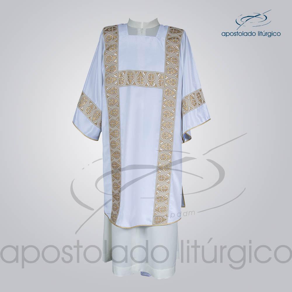 Dalmatica Crepe Seda Galao Largo N 15 Branca Frente | Apostolado Litúrgico Brasil