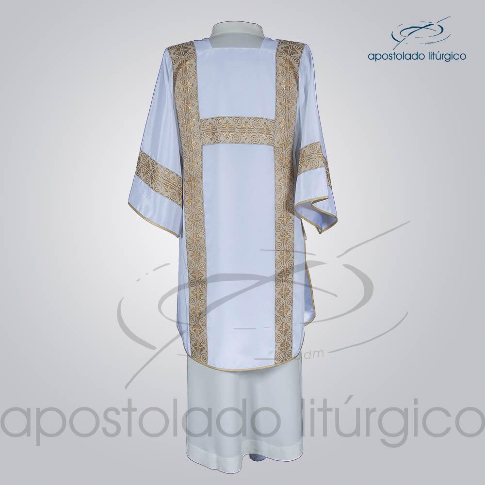 Dalmatica Crepe Seda Galao Largo N 9 Branca Costas | Apostolado Litúrgico Brasil