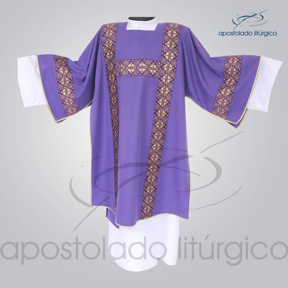 Dalmatica Crepe Seda Galao Largo N 9 Roxa Frente | Apostolado Litúrgico Brasil