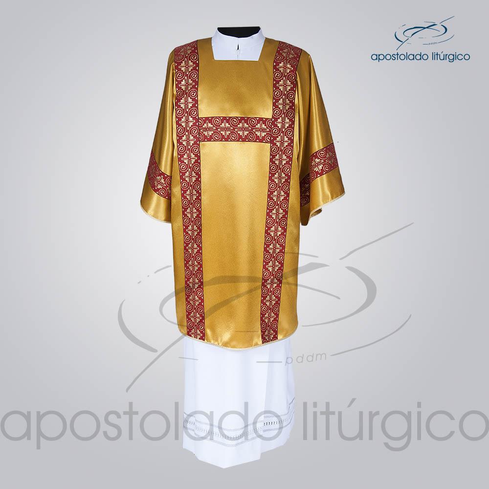 Dalmatica Crepe Seda Galao Largo N 9 Vermelha Dourada Comleta Frente | Apostolado Litúrgico Brasil