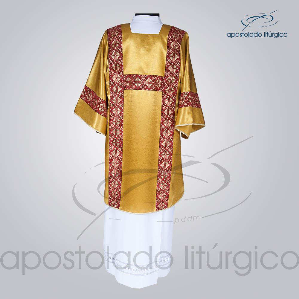 Dalmatica Crepe Seda Galao Largo N 9 Vermelha Dourada Completa Costas | Apostolado Litúrgico Brasil