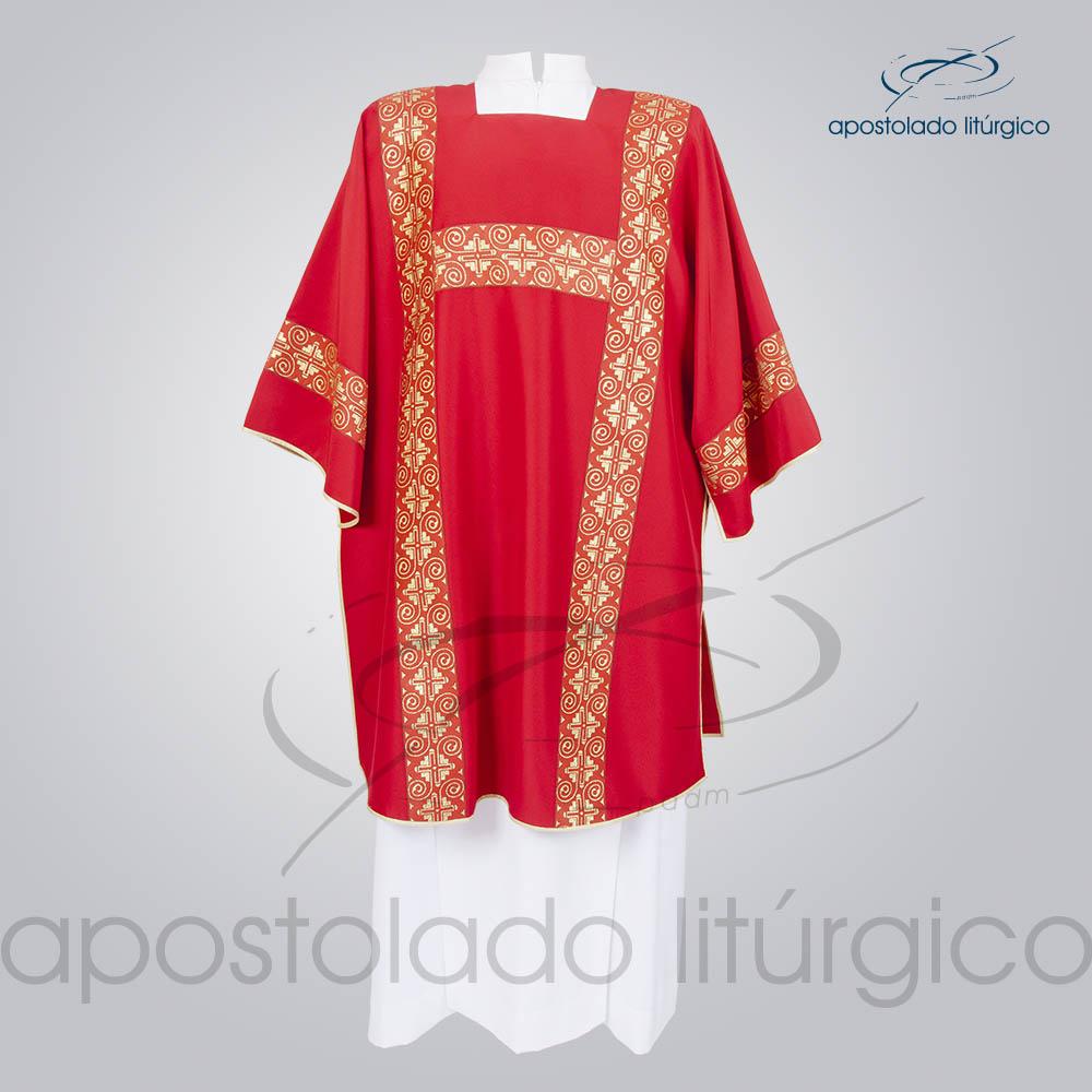 Dalmatica Crepe Seda Galao Largo N 9 Vermelha Frente | Apostolado Litúrgico Brasil