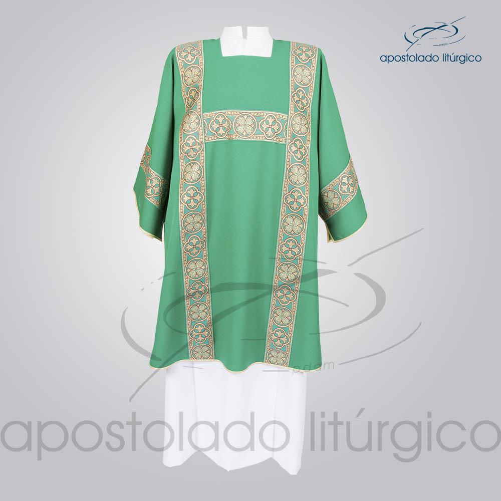 Dalmatica Oxford Galao Largo N 10 Verde Frente   Apostolado Litúrgico Brasil