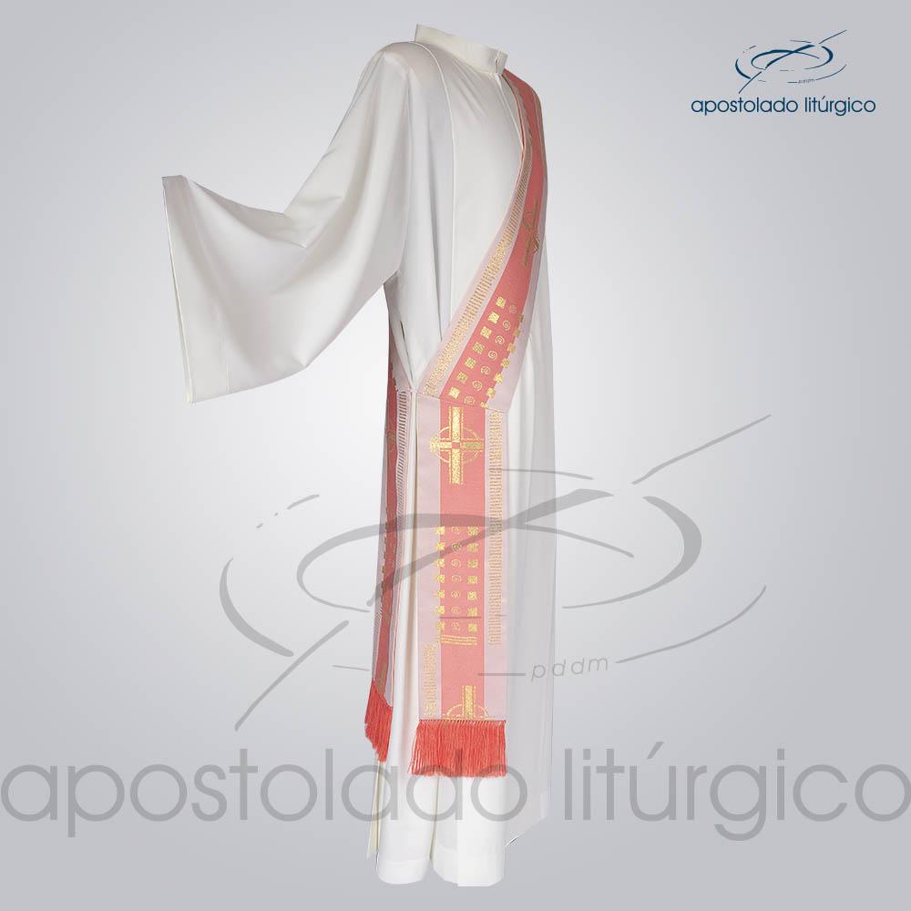 Estola Diaconal Brocado Cruz A Rosa Lateral | Apostolado Litúrgico Brasil