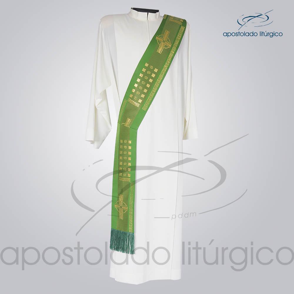 Estola Diaconal Brocado Cruz A Verde Frente | Apostolado Litúrgico Brasil