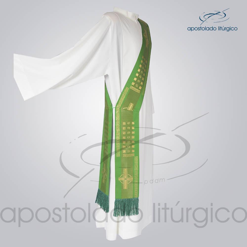 Estola Diaconal Brocado Cruz A Verde Lateral | Apostolado Litúrgico Brasil