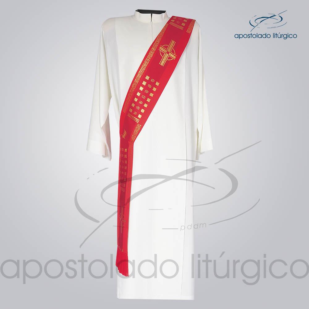 Estola Diaconal Brocado Cruz A Vermelha Frente | Apostolado Litúrgico Brasil