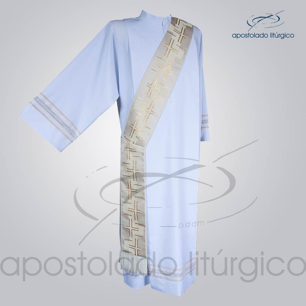 Estola Diaconal Brocado Cruz Caminho 2 Branca Frente | Apostolado Litúrgico Brasil
