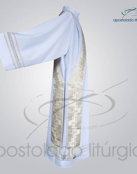 Estola Diaconal Brocado [Cruz Caminho 2] Branca Lateral