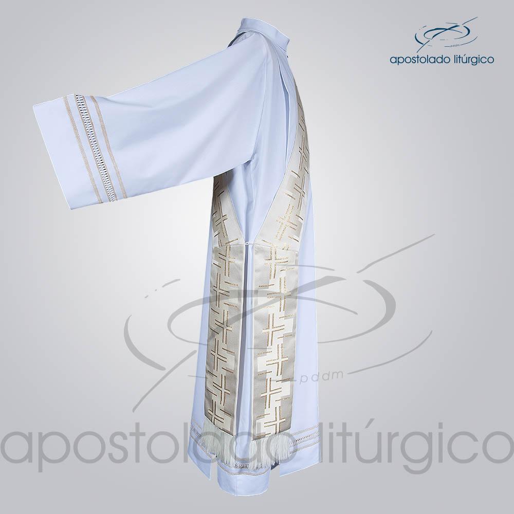 Estola Diaconal Brocado Cruz Caminho 2 Branca Lateral | Apostolado Litúrgico Brasil