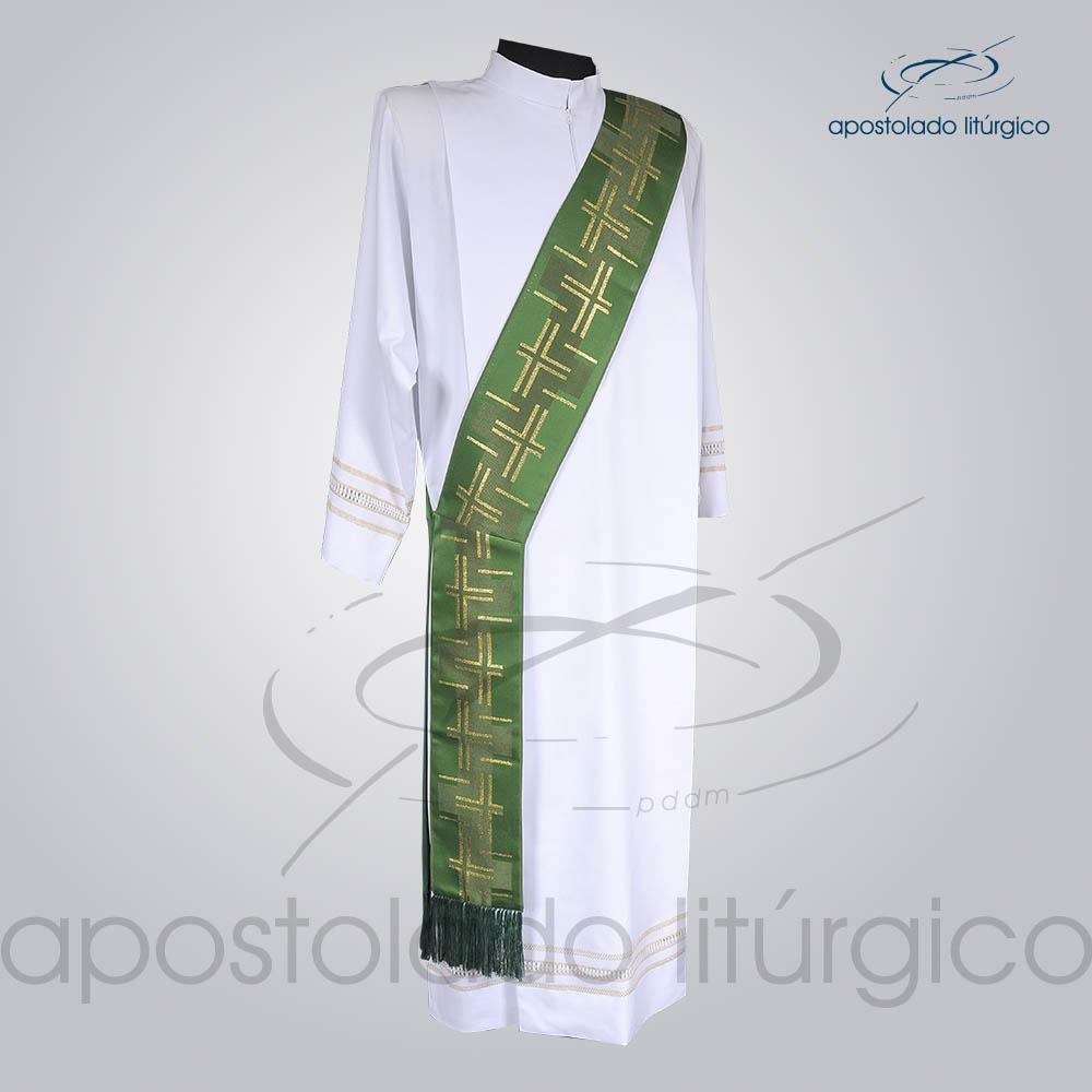 Estola Diaconal Brocado Cruz Caminho 2 Verde Frente | Apostolado Litúrgico Brasil