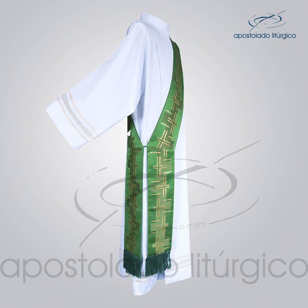 Estola Diaconal Brocado Cruz Caminho 2 Verde Lateral | Apostolado Litúrgico Brasil
