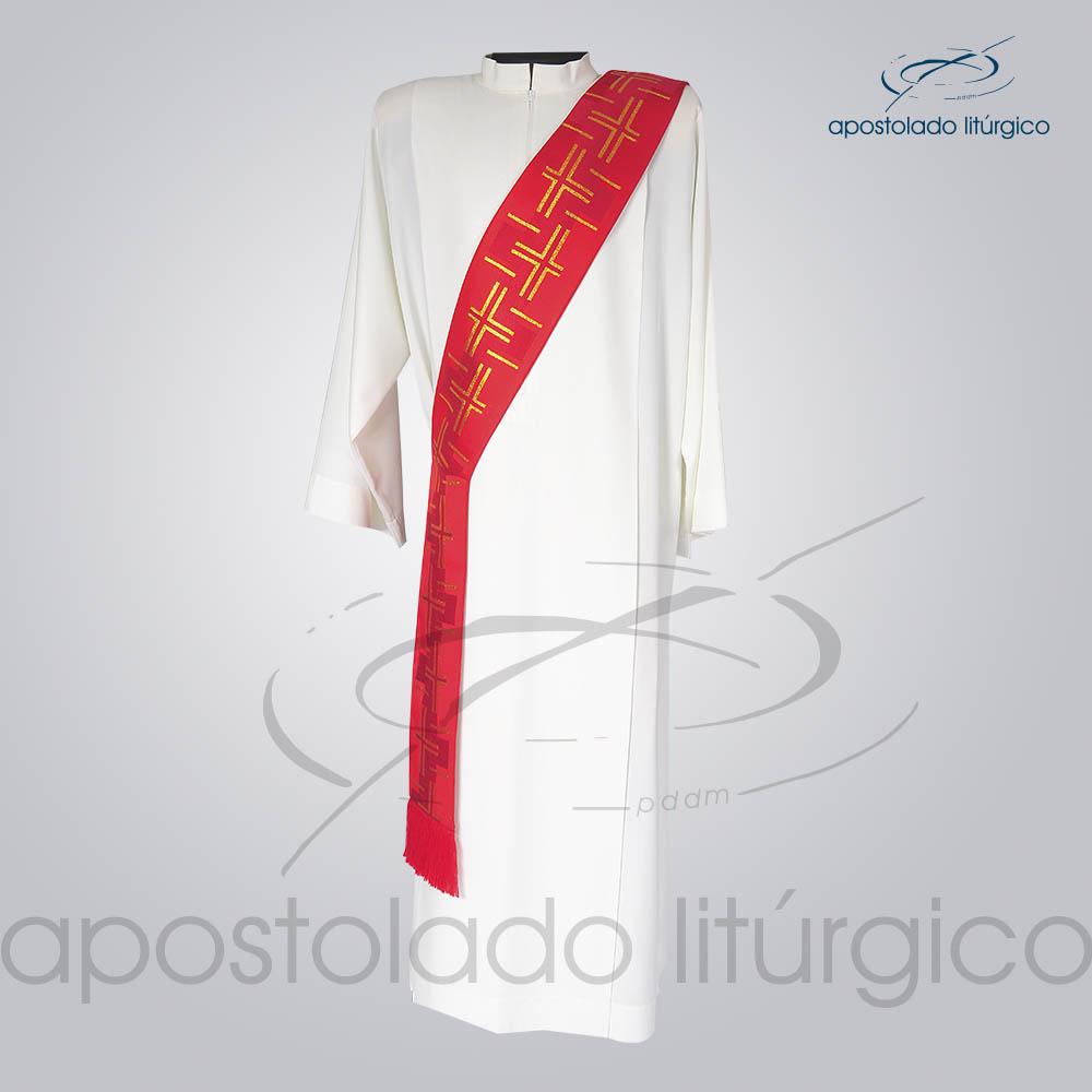 Estola Diaconal Brocado Cruz Caminho 2 Vermelha Frente | Apostolado Litúrgico Brasil