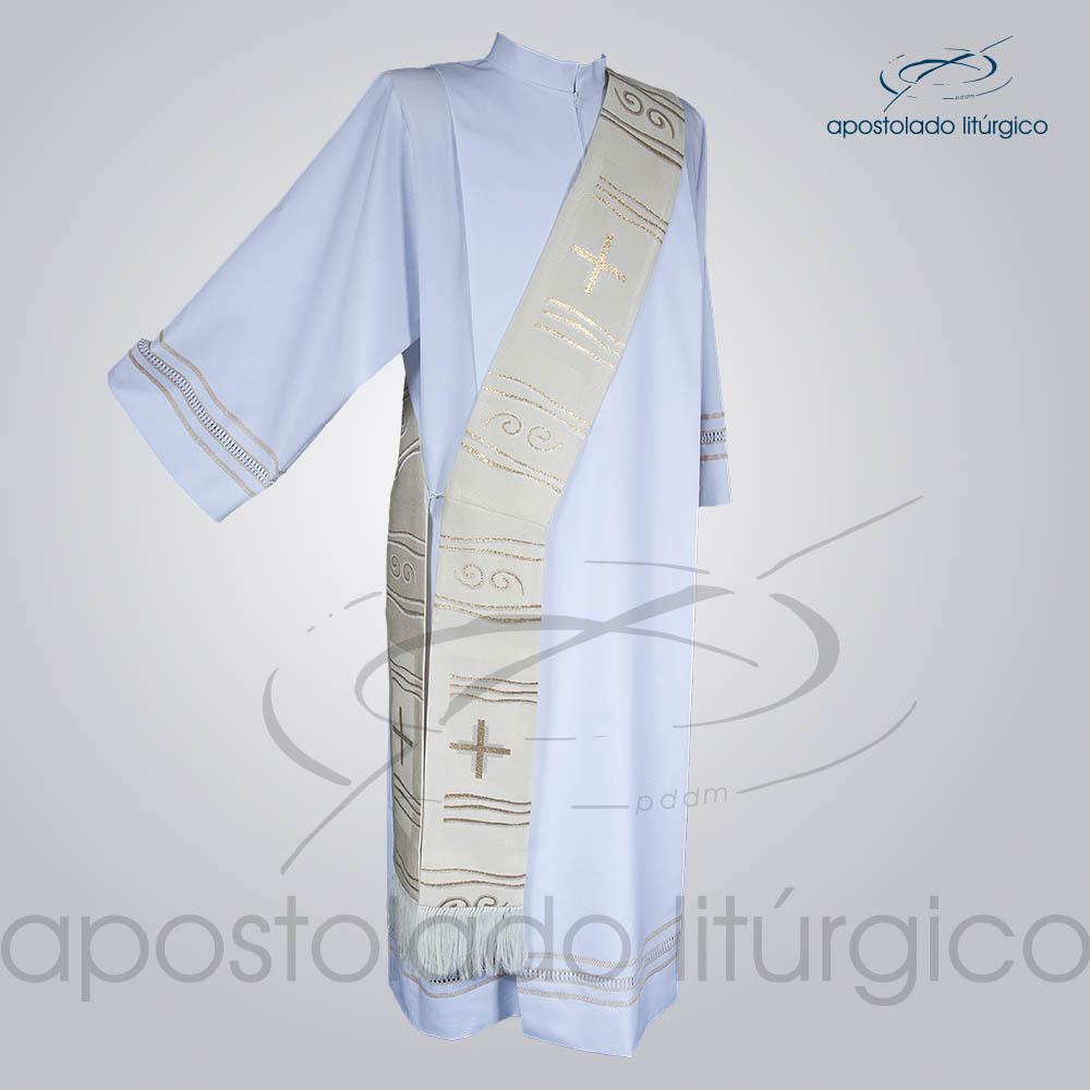 Estola Diaconal Brocado Cruz Caminho Branca Frente | Apostolado Litúrgico Brasil