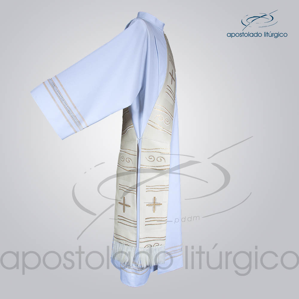 Estola Diaconal Brocado Cruz Caminho Branca Lateral | Apostolado Litúrgico Brasil