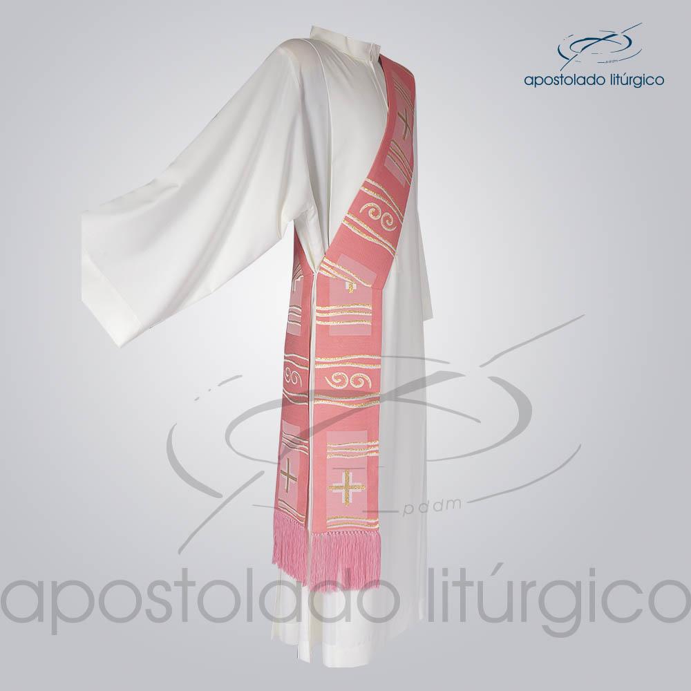 Estola Diaconal Brocado Cruz Caminho Rosa Lateral | Apostolado Litúrgico Brasil