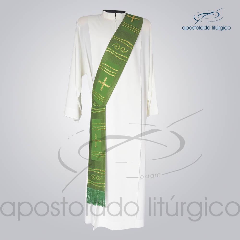 Estola Diaconal Brocado Cruz Caminho Verde Frente | Apostolado Litúrgico Brasil