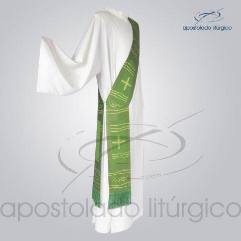 Estola Diaconal Brocado [Cruz Caminho] Verde Lateral