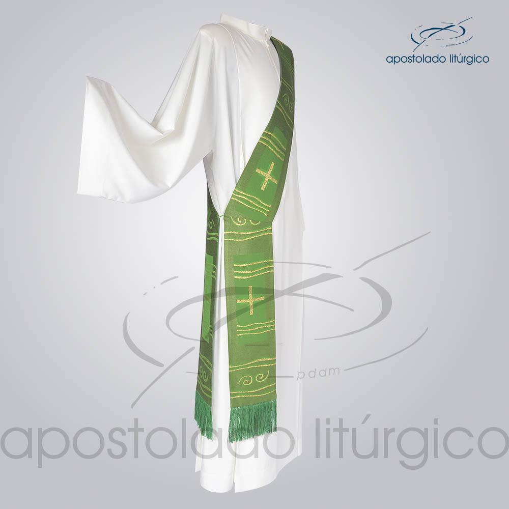 Estola Diaconal Brocado Cruz Caminho Verde Lateral | Apostolado Litúrgico Brasil