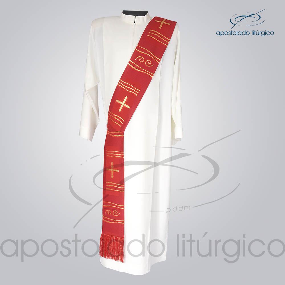 Estola Diaconal Brocado Cruz Caminho Vermelha Frente | Apostolado Litúrgico Brasil
