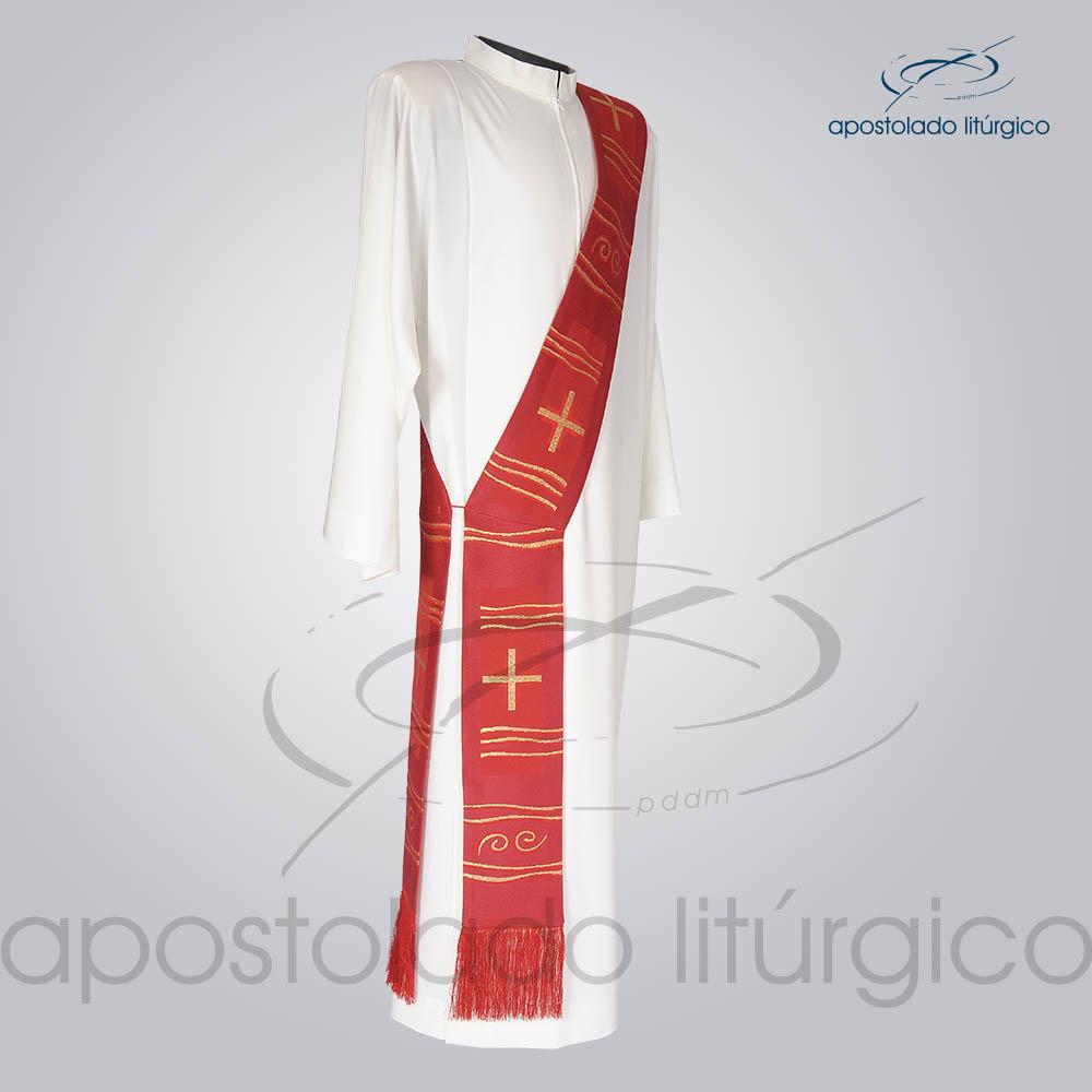 Estola Diaconal Brocado Cruz Caminho Vermelha Lateral | Apostolado Litúrgico Brasil