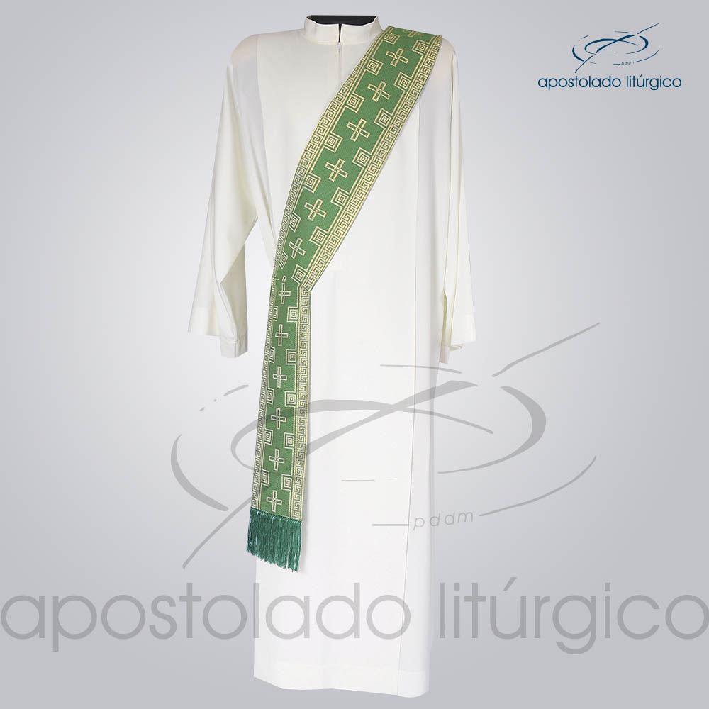 Estola Diaconal Brocado Cruz Verde Frente | Apostolado Litúrgico Brasil