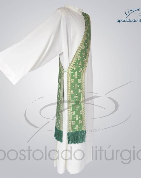 Estola Diaconal Brocado [Cruz] Verde Lateral