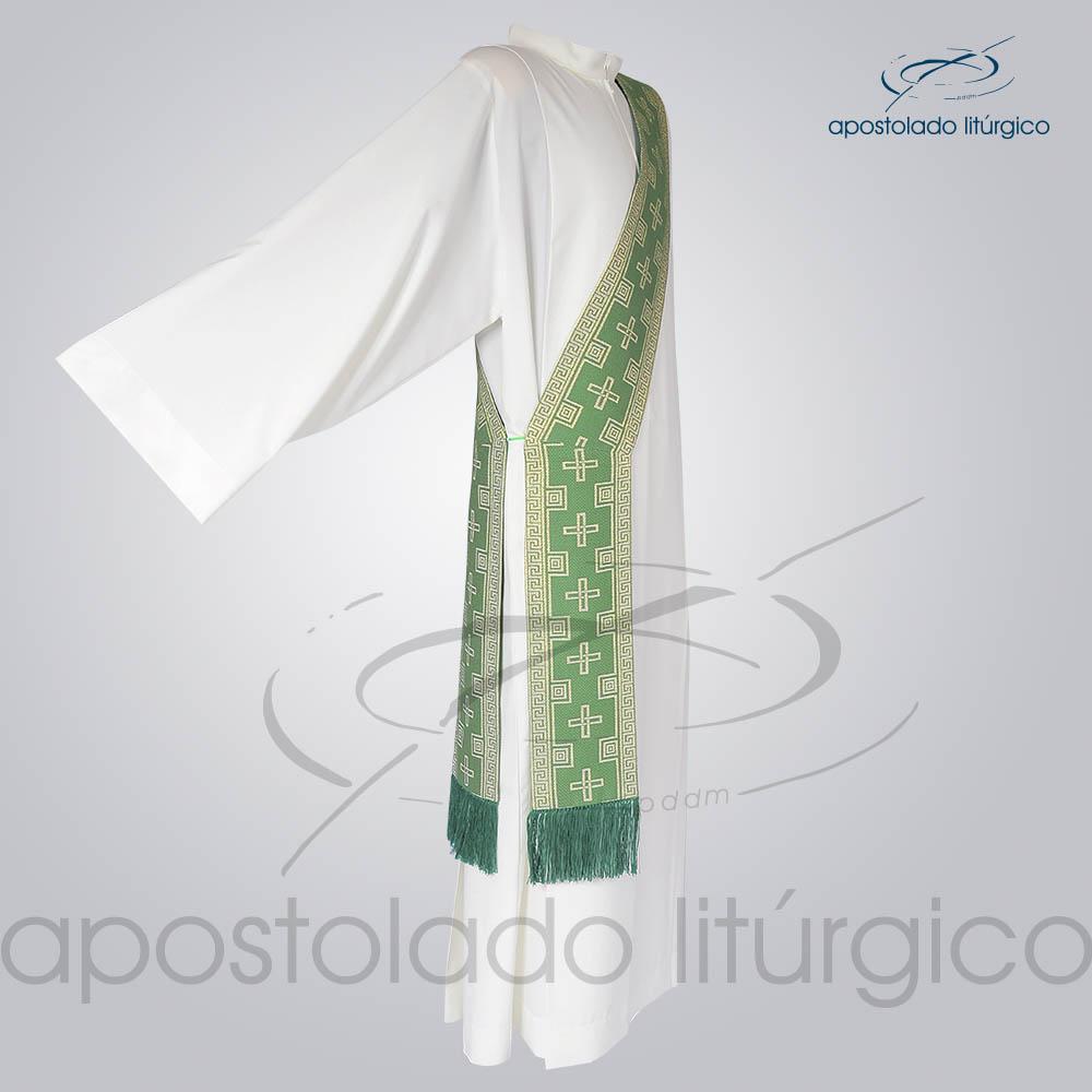 Estola Diaconal Brocado Cruz Verde Lateral | Apostolado Litúrgico Brasil