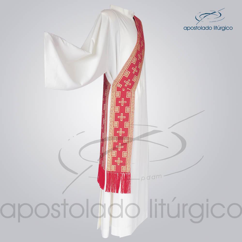 Estola Diaconal Brocado Cruz Vermelha Lateral | Apostolado Litúrgico Brasil