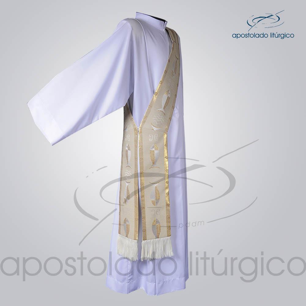 Estola Diaconal Brocado Peixe Branca Lateral | Apostolado Litúrgico Brasil