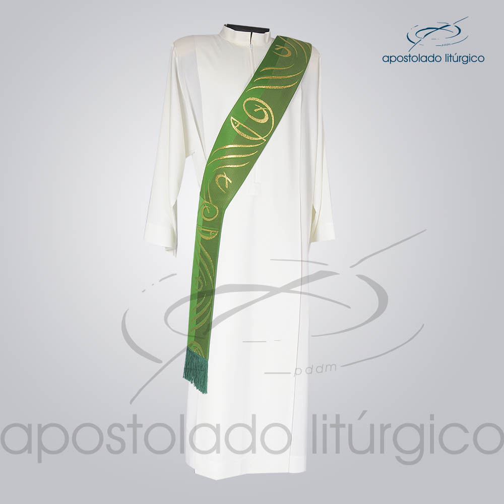 Estola Diaconal Brocado Peixe Pao Verde Frente | Apostolado Litúrgico Brasil