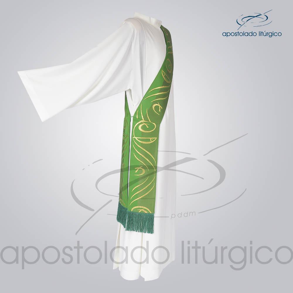 Estola Diaconal Brocado Peixe Pao Verde Lateral | Apostolado Litúrgico Brasil