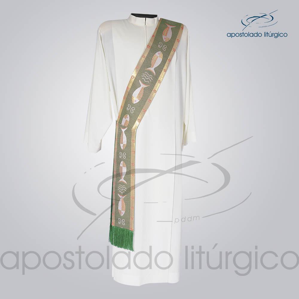 Estola Diaconal Brocado Peixe Verde Frente | Apostolado Litúrgico Brasil