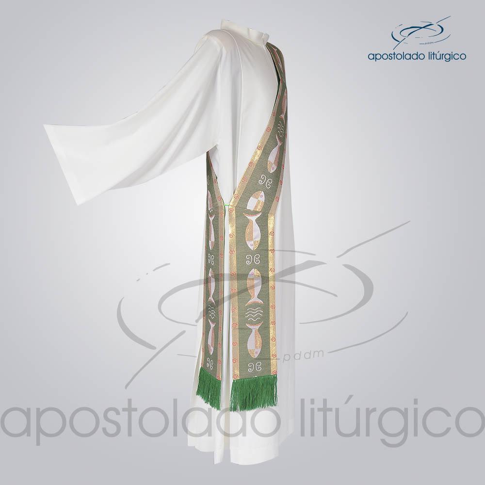 Estola Diaconal Brocado Peixe Verde Lateral | Apostolado Litúrgico Brasil