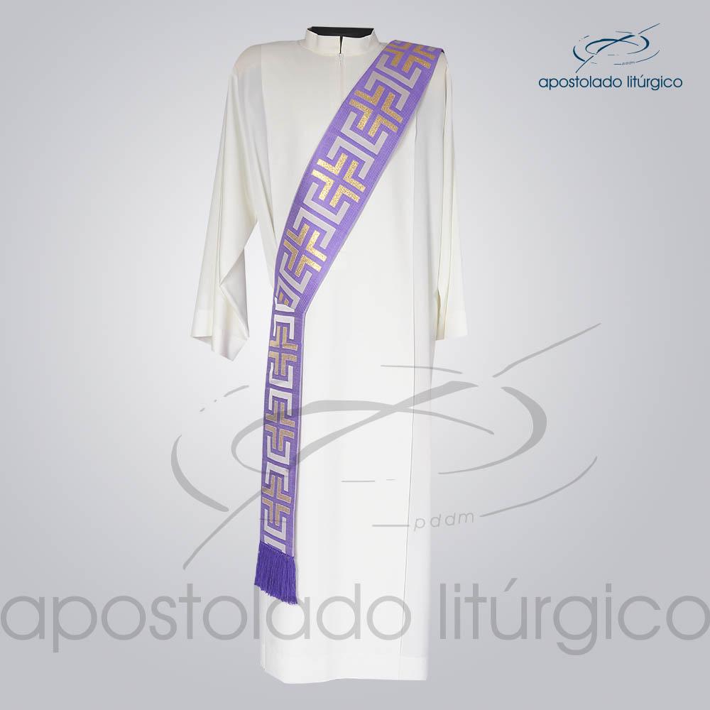 Estola Diaconal Brocado Tupa Roxa Frente | Apostolado Litúrgico Brasil