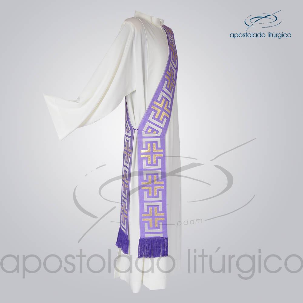 Estola Diaconal Brocado Tupa Roxa Lateral | Apostolado Litúrgico Brasil