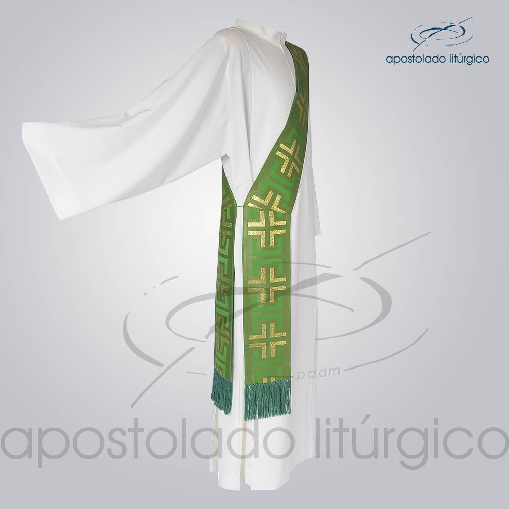 Estola Diaconal Brocado Tupa Verde Lateral | Apostolado Litúrgico Brasil