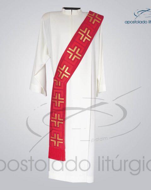 Estola Diaconal Brocado [Tupa] Vermelha Frente