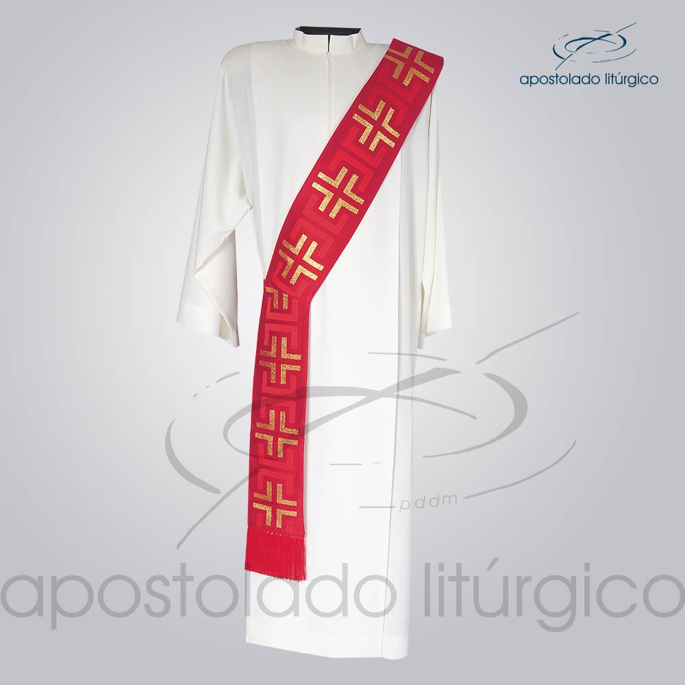 Estola Diaconal Brocado Tupa Vermelha Frente | Apostolado Litúrgico Brasil