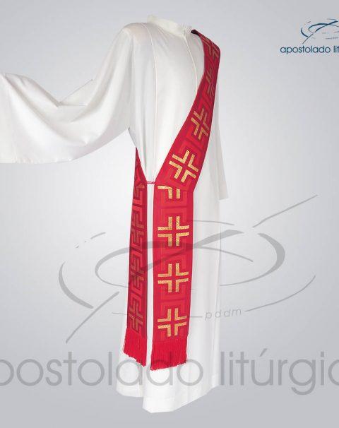 Estola Diaconal Brocado [Tupa] Vermelha Lateral