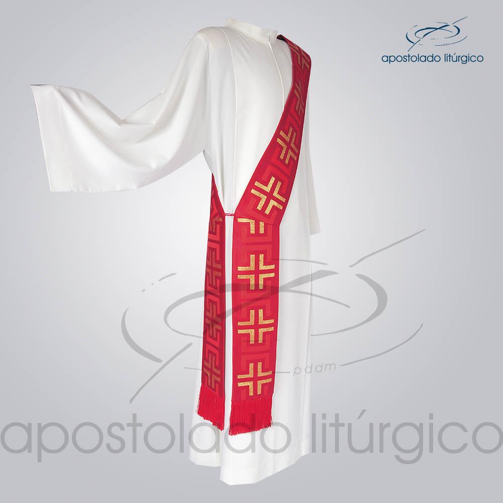 Estola Diaconal Brocado Tupa Vermelha Lateral | Apostolado Litúrgico Brasil