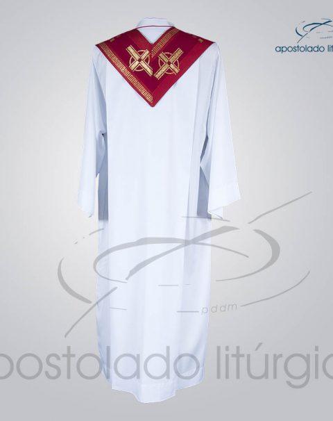 Estola Presbiteral Brocada [Cruz A] Vermelha Costas