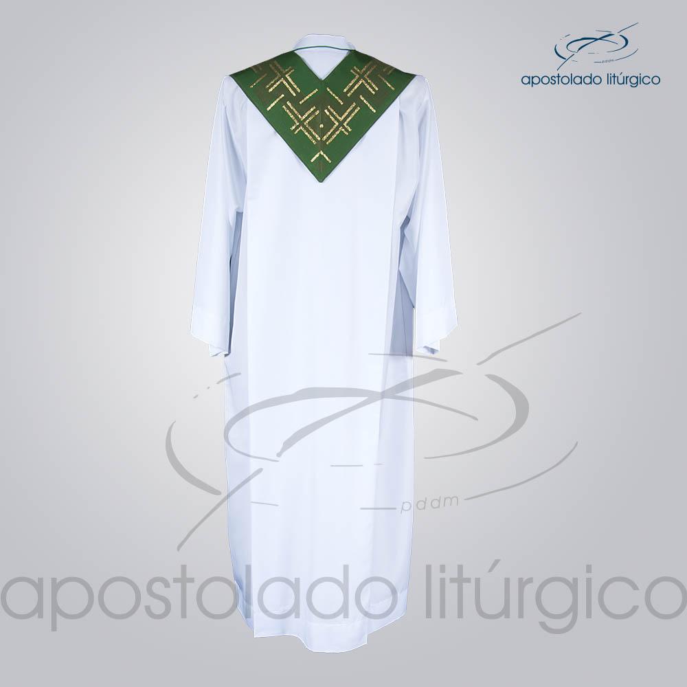 Estola Presbiteral Brocada Cruz Caminho 2 Verde Costas | Apostolado Litúrgico Brasil