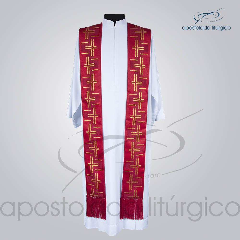 Estola Presbiteral Brocada Cruz Caminho 2 Vermelha Frente | Apostolado Litúrgico Brasil